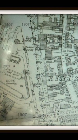 A map from 1907 shows the location of Commercial and Dolphin Rowing Clubs where UCD had its early homes.