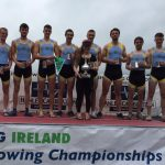 Mens Club 8+ National Champions (L-R: James O'Sullivan, Eoin Gleeson, David Somers, Shane O'Connell, Shauna Fitzsimons, Ben Moore, James Hayes, Coman O'Connell, Sam Bolger)