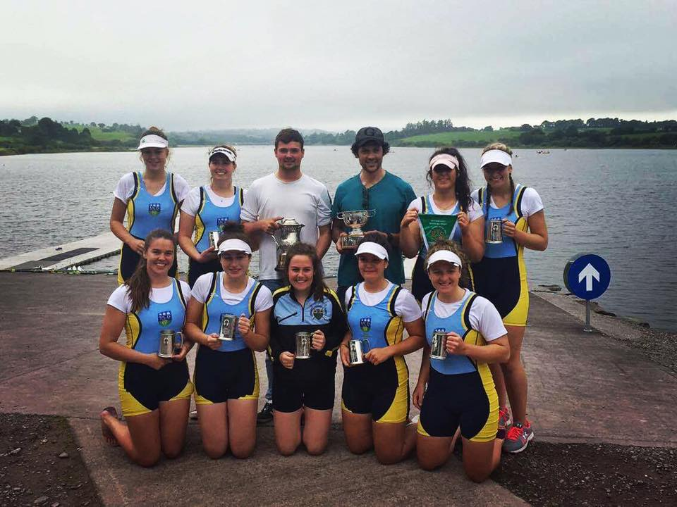 Womens Intermediate 8+ National Champions (L-R, Back Row: Eimear Lambe, Siofra Bennett, Williams Yeomans, Giuseppe De Vita, Daisy Callanan, Vanessa Connolly; Front Row: Aileen Crowley, Kara O'Connor, Jane Gilligan, Ruth Gilligan, Aoife O'Riordan)