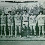 L-R, back: Ned Sullivan, Pat McBride, Pat Brady, Tom Galligan, Dave Keyes, Martin Feeley, Jim Skelly, John Kenny.