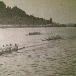 Cork Regatta - U.C.D. winning the Leander Grand Challenge Cup for Senior Eights with a bit to spare from Cappoquin R.C. (on right) on the Marina course