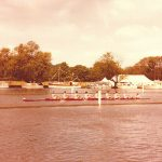 UCD raced in 'The Elizabeth', named after Tom Sullivan's wife.  First UCD Boat Club 8+ with lifting heels (shoes in boat)