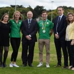 Georgina Dwyer (UCD Sport), Claire Lambe, Professor Andrew J Deeks, Paul O'Donovan, David Broderick (President UCD Boat Club), Suzanne Bailey (UCD Sport)