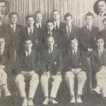 Olympic Crew of 1948: Back row (from left): R. W. R. Tamplin (DUBC), B. McDonnell (UCD), E. M. A. McElligott (UCD), H. R. Chantler (DUBC), D. Lambert-Sugrue (UCD), P. D. Harrold (Neptune), J. Hanly (UCD), D. B. Taylor (Queens), W. J. Stevens (Neptune).  Seated (from left): D. S. F. O'Leary (UCD), P. G. Dooley (UCD), M. V. Rowan (President, IARU), M. Horan (LEBC), T. G. Dowdall (UCD).  Inset: J. Nolan (Neptune), R. G. Hickey (OCBC)