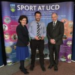 Niall Farrell is presented with his award by Joann Hossey of Bank of Ireland and Professor Andrew Deeks, President of UCD