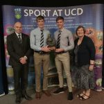 Shane Mulvaney and David O'Malley are presented with their Dr Tony O'Neill Sportsperson of the Year Award by Professor Andrew Deeks, President of UCD, and Dr O'Neill's sister Marjorie Fitzpatrick