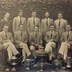 Winners at Limerick International Regatta, also at Athlone and Carlow Regatta  Standing (L-R): P. A. Spillane (Coach), J. B. Doyle (Capt & Stk), T. Sullivan (7), P. F. Crowley (5), J. A. De Freitas (6) Seated (L-R): M. F. Kent (3), D. E. O'Connor (2), B. F. O'Connor (Cox), H. G. Buckley (4), J. F. O'Grady (Bow)